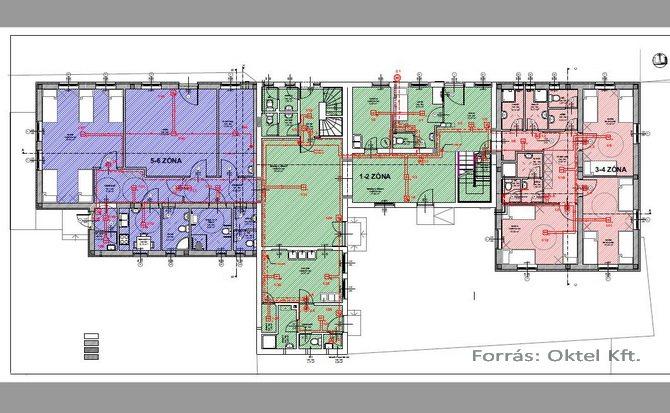 Tűzjelző rendszer megvalósulási tervéhez tartozó műszaki rajz részlete