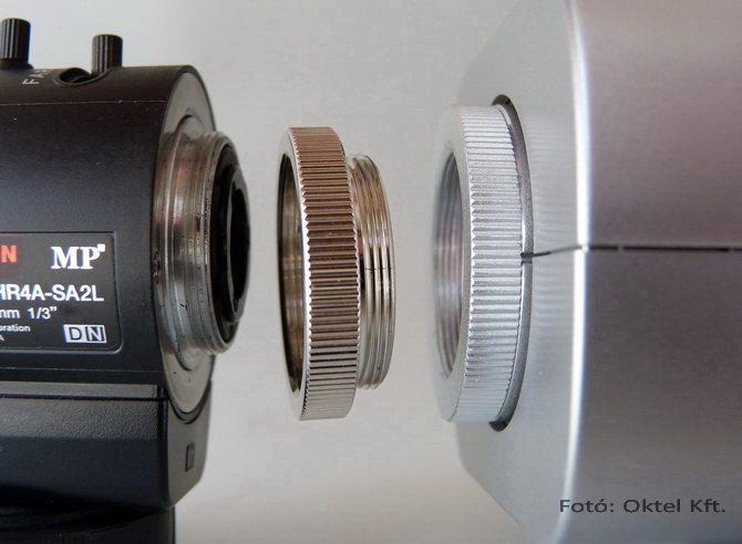 C és CS csatlakozás: objektív - C gyűrű - kamera (Fotó: Oktel Kft)