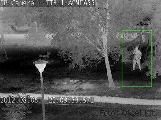 Az IP hőkamera jól mutatja a lombok között álló személyt is